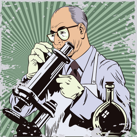 trainee: Stock illustration. People in retro style pop art and vintage advertising. Scientist with microscope.