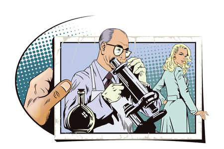 Stock illustration. People in retro style pop art and vintage advertising. Scientist with microscope. Hand with photo. Stock Vector - 62148997