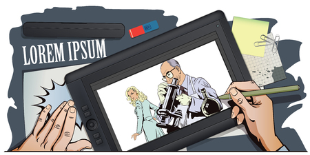 Stock illustration. People in retro style pop art and vintage advertising. Scientist with microscope. Hand paints picture on tablet.