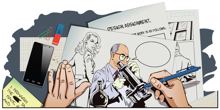 Stock illustration. People in retro style pop art and vintage advertising. Scientist with microscope. Hand paints picture. Illustration