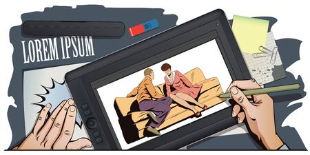 couple talking: Stock illustration. People in retro style pop art and vintage advertising. Young couple sitting on couch and talking. Hand paints picture on tablet.