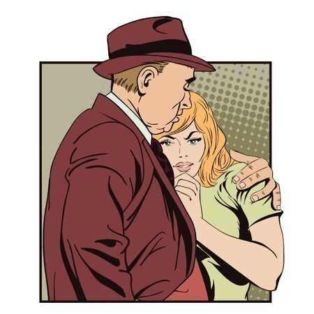 miserable: Stock illustration. People in retro style pop art and vintage advertising. Father and daughter, sad young girl resting on her fathers shoulder.