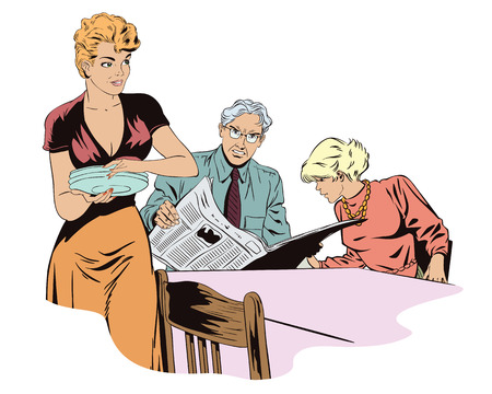 mom and pop: Stock illustration. People in retro style pop art and vintage advertising. Family going to eat.