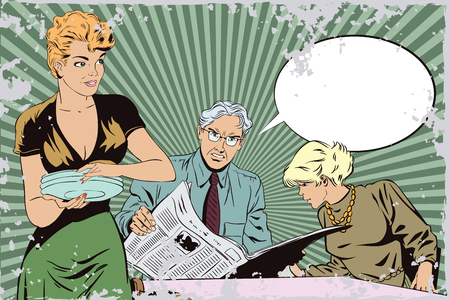 Stock illustration. People in retro style pop art and vintage advertising. Family going to eat.