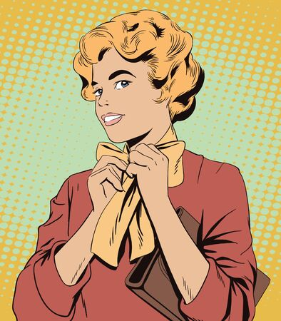 retro fashion: Stock illustration. People in retro style pop art and vintage advertising. Young girl ties a scarf on the neck.