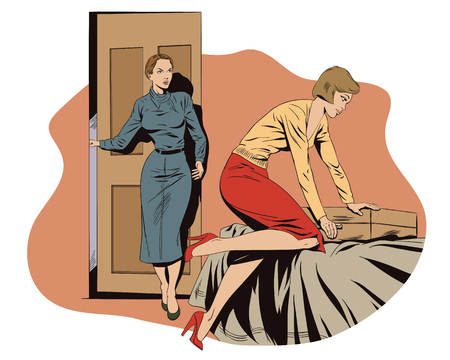 mom and pop: Stock illustration. People in retro style pop art and vintage advertising. Girl collects a suitcase. Family quarrel.