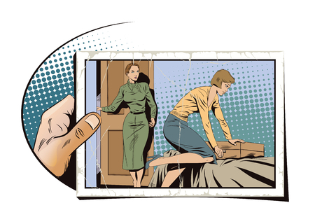 Stock illustration. People in retro style pop art and vintage advertising. Girl collects a suitcase. Family quarrel. Hand with photo.