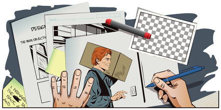 consignment: Stock illustration. People in retro style pop art and vintage advertising. Delivery man with a parcel. Hand paints picture.