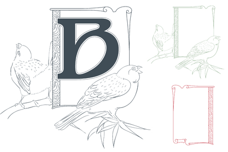 initial: Template for Initial letter. Violin and chrysanthemum.