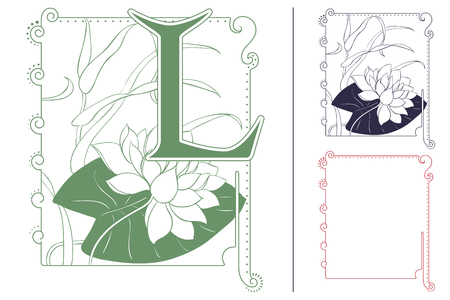 waterlily: Template for Initial letter. Waterlily in frame. Illustration