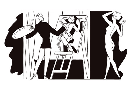 nudes: Stock illustration. People in retro style pop art and vintage advertising. Artist paints nudes in style of cubism.