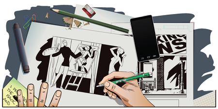 nudes: Stock illustration. People in retro style pop art and vintage advertising. Artist paints nudes in style of cubism. Hand paints picture.