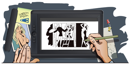 nudes: Stock illustration. People in retro style pop art and vintage advertising. Artist paints nudes in style of cubism. Hand paints picture on tablet.