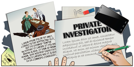 sleuth: Stock illustration. People in retro style pop art and vintage advertising. Private detective and girl. Hand paints picture.