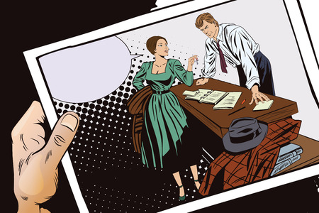 Stock illustration. People in retro style pop art and vintage advertising. Private detective and girl. Hand with photo. Illustration