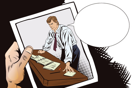 Stock illustration. People in retro style pop art and vintage advertising. Businessman. Boss. Hand with photo. Illustration