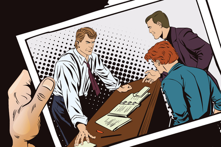 Stock illustration. People in retro style pop art and vintage advertising. Businessman. Boss and subordinates. Hand with photo.