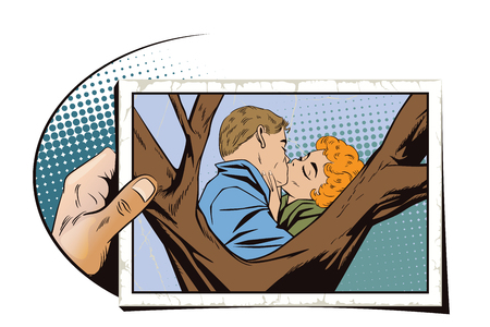 Stock illustration. People in retro style pop art and vintage advertising. Kiss of a loving couple. Hand with photo.