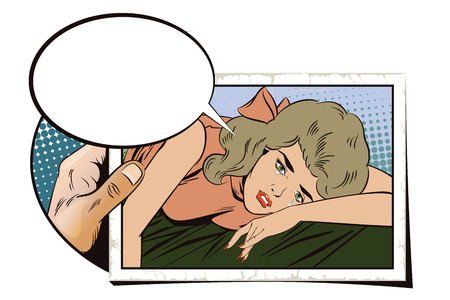 Stock illustration. People in retro style pop art and vintage advertising. Broken heart. Girl lies on bed and crying. Hand with photo.
