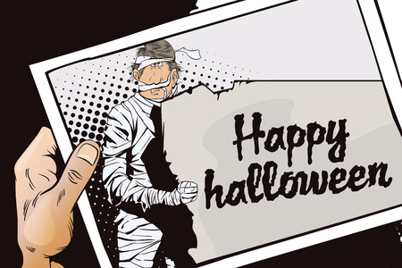 toilet paper art: Stock illustration. People in retro style pop art and vintage advertising. Man wrapped in toilet paper. Funny mummy. Happy Halloween. Hand with photo.