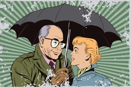 autumn woman: Stock illustration. People in retro style pop art and vintage advertising. Elderly man and beautiful girl under an umbrella. Illustration