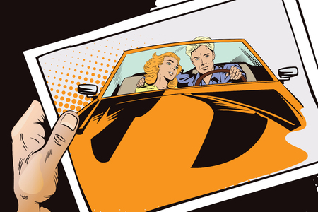 stock car: Stock illustration. People in retro style pop art and vintage advertising. Guy and girl in a sports car. Hand with photo.