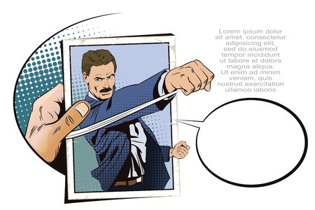 brawl: Stock illustration. People in retro style pop art and vintage advertising. Man beats his fist. Hand with photo.