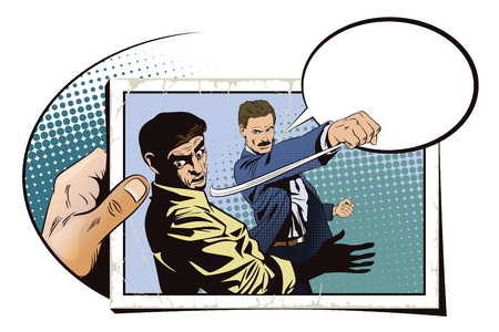misunderstanding: Stock illustration. People in retro style pop art and vintage advertising. Fight of two men. Hand with photo. Illustration