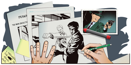 misunderstanding: Stock illustration. People in retro style pop art and vintage advertising. Fight of two men. Hand paints picture. Illustration