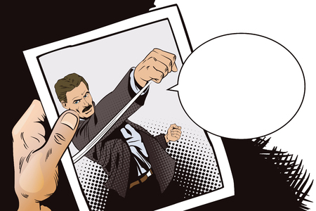 hand beats: Stock illustration. People in retro style pop art and vintage advertising. Man beats his fist. Hand with photo.
