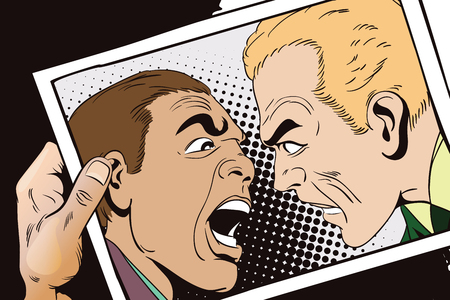 strife: Stock illustration. People in retro style pop art and vintage advertising. Two men swear. Hand with photo. Illustration