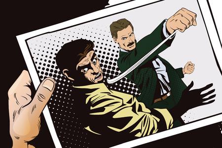 La ilustración. La gente en estilo retro pop art y la publicidad de la vendimia. Lucha de dos hombres. Mano con foto. Ilustración de vector