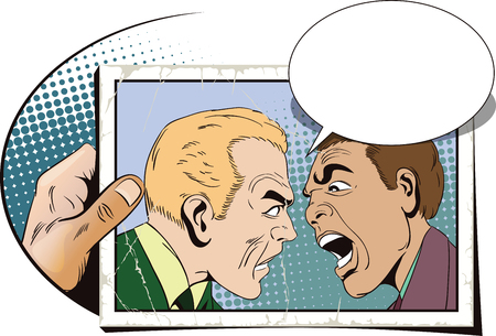 Stock illustration. People in retro style pop art and vintage advertising. Two men swear. Hand with photo. Illustration