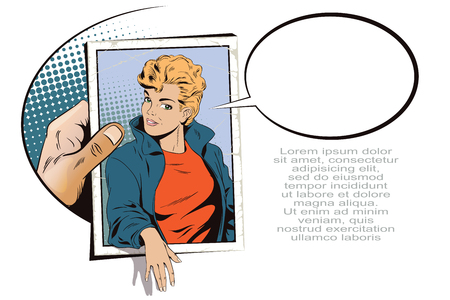 Stock illustration. People in retro style pop art and vintage advertising. Beautiful girl in jacket. Hand with photo.