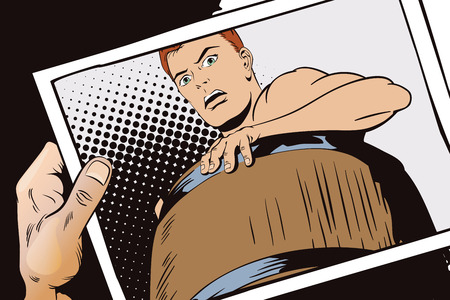 Stock illustration. People in retro style pop art and vintage advertising. Naked man inside a barrel. Ruin and debts. Hand with photo.