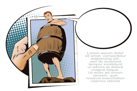 naked man: Stock illustration. People in retro style pop art and vintage advertising. Naked man inside a barrel. Ruin and debts. Hand with photo.