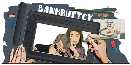 advertising woman: Stock illustration. People in retro style pop art and vintage advertising. Woman soothes upset man. Bankruptcy. Business failure. Hand paints picture on tablet. Illustration