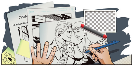 brand activity: Stock illustration. People in retro style pop art and vintage advertising. Loving couple with bottles of lemonade. Hand paints picture.