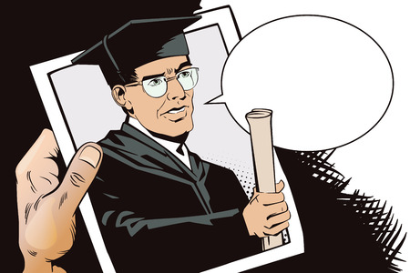 Stock illustration. People in retro style pop art and vintage advertising. Teacher with diploma. Hand with photo.