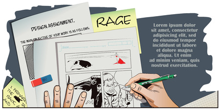 rage: Stock illustration. People in retro style pop art and vintage advertising. Rage men screaming. Hand paints picture.
