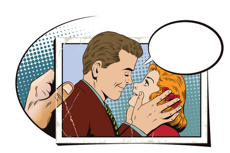 Stock illustration. People in retro style pop art and vintage advertising. Guy wants to kiss a girl. Hand with photo.