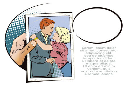 Stock illustration. People in retro style pop art and vintage advertising. Hand with photo. Girl hugging guy.