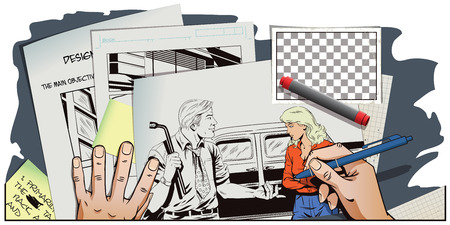 replace: Stock illustration. People in retro style pop art and vintage advertising. Man with tool to replace car wheels. Blame girl. Hand paints picture. Illustration