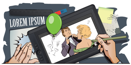 terrified: Stock illustration. People in retro style pop art and vintage advertising. Proud guy adjusting his bow-tie. Girl terrified by this. Hand paints picture on tablet. Illustration