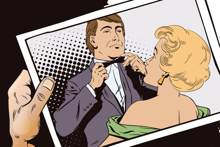 terrified: Stock illustration. People in retro style pop art and vintage advertising. Proud guy adjusting his bow-tie. Girl terrified by this. Hand with photo.