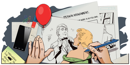 bowtie: Stock illustration. People in retro style pop art and vintage advertising. Proud guy adjusting his bow-tie. Girl terrified by this. Hand paints picture.