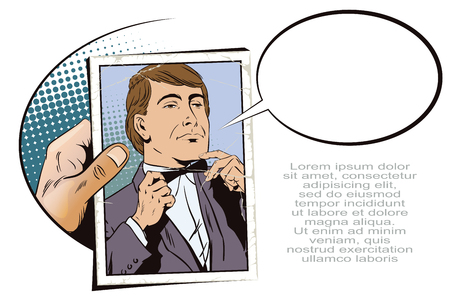 bowtie: Stock illustration. People in retro style pop art and vintage advertising. Proud guy adjusting his bow-tie. Hand with photo.