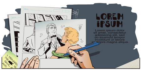 terrified: Stock illustration. People in retro style pop art and vintage advertising. Proud guy adjusting his bow-tie. Girl terrified by this. Hand paints picture.