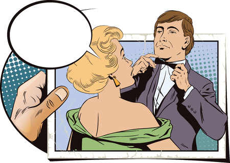 bowtie: Stock illustration. People in retro style pop art and vintage advertising. Proud guy adjusting his bow-tie. Girl terrified by this. Hand with photo.
