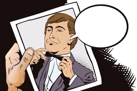 Stock illustration. People in retro style pop art and vintage advertising. Proud guy adjusting his bow-tie. Hand with photo.